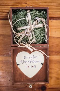 Rustic Wedding Ring Box with Heart   Angelina M. Photography