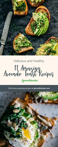 11 amazing avocado toast recipes by greenblender, pin (Vegan Recipes Avocado) Best Avocado Toast Recipe, Avacado Toast, Avocado Recipes, Avocado Dessert, Breakfast Toast, Breakfast Recipes, Breakfast Ideas, Paleo Breakfast, Keto Vegan