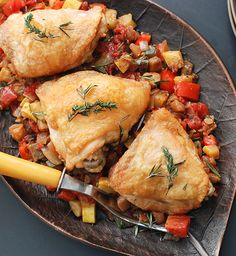 Family meal night across America just got easier, and so did entertaining on a budget. Ratatouille paired with roast chicken pieces is a classic combination that even your kids will devour. If you care to, this dish works equally well with turkey quarters on the grill: Use the same marinade, but roast using indirect heat over wood coal for about 80 to 90 minutes for dark quarters, and 70 minutes for turkey breast.