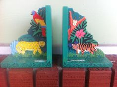 Children's Bookends The Playful Jungle by TheFiveHandRanch on Etsy, $20.00