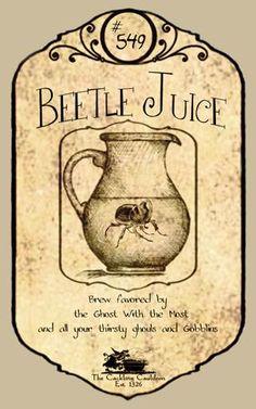 """Beetle Juice"" #BottleLabel #BeetleJuice #Halloween"