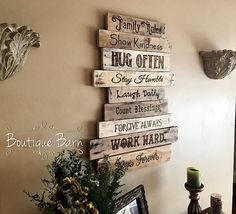 Wood Sign/Family Rules/Family Art/Rustic Wall Decor/Farmhouse Decor/Country Home Decor/Family/Inspirational Decor/Rustic/Reclaimed Wood/Gift Family Rules Rustic Sign A wonderfully rustic sign is perfect to hang on the wall thats been bare for too long! It is made up of a collection of reclaimed wood planks, with a list the Family Rules wood burned onto each separate plank. It makes quite a statement for your home, and demonstrates how import...