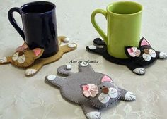 Kézi varrással (pelenkaöltéssel) is elkészíthető a képeken látható, aranyos kis cicát formázó poháralátét, ami remek ajándék lehet például...