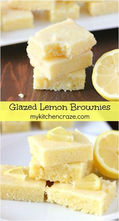 Glazed Lemon Brownies ~ mykitchencraze ~ Brownies that are quick and easy to make, plus they are a lemon lovers dream come true! #lemons #brownies #dessert
