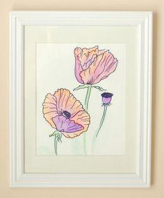 Poppies flower watercolor painting original by SingingBirdsArt