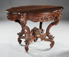"""American Rococo Carved and Laminated Rosewood Center Table, c. John Henry Belter, New York, in the """"Rosali. on Nov 2015 Center Table Living Room, Table Centers, Victorian Furniture, Antique Furniture, Buffet, Nov 21, Wood Furniture, Auction, Carving"""