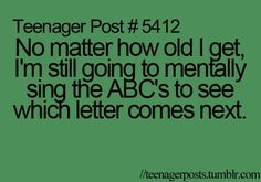 Mentally singing the ABCs
