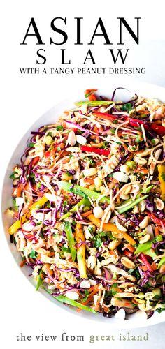 Healthy Coleslaw Recipes, Spicy Coleslaw, Coleslaw Salad, Peanut Coleslaw Recipe, Healthy Coleslaw Dressing, Peanut Recipes, Beef Recipes, Vegetarian Recipes, Vegan Vegetarian