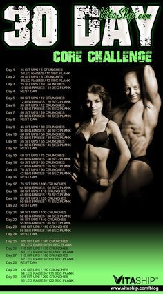 30-Days, 4 Exercises, 1 Rock-Solid Core with the 30-Day Core Challenge!