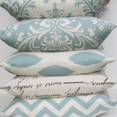 Blue Pillows decorative throw pillow covers 18x18 you pick fabric village Blue on Natural cotton FREE SHIP. $20.00, via Etsy.
