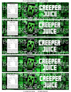 INSTANT DOWNLOAD Printable Minecraft Inspired Water Bottle Wrapper Creeper Juice- Birthday Party Image- Minecraft Decoration, $3.00