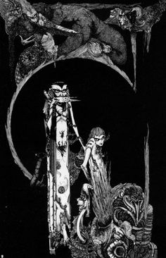 """On a road like this men droop and drivel, while woman goes fearless and fast to the Devil"" by Harry Clarke (1889-1931) - from his suite of designs for ""Faust"" (1925)."