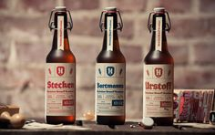 The task was to create a redesign of the corporate appearance for Hüchelner Urstoff Brauhaus. The result is a modern, German, handcrafted label. Design Thomas Wiuf Schwartz