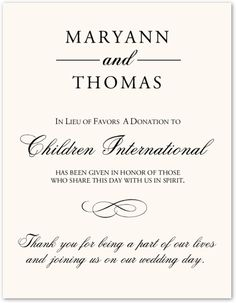Classic 7 - Wedding Donation Card Charity Card Wedding Favor