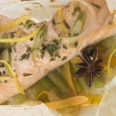 Papillote de salmón. Receta rápida para niños y embarazadas
