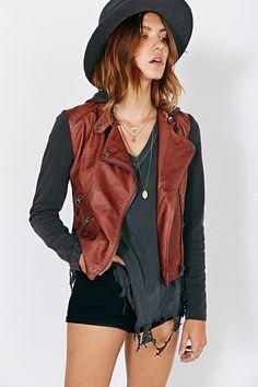 Silence + noise Vegan Leather + Fleece Moto Jacket in Brown   Lyst