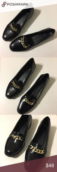 ASOS Gold & Black Penny Loafers ASOS Gold & Black Penny Loafers *only worn once* Fits true to size ASOS Shoes Flats & Loafers