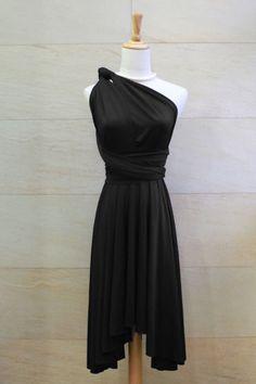 Bridesmaid Dress Infinity Dress Black Knee Length Wrap Convertible Dress Wedding Dress. $35.00, via Etsy.