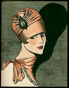 1927 Fashion ~ L'Art et la Mode cover detail - January 1927 by A. Vintage Prints, Vintage Posters, Vintage Art, 1920s Art Deco, Art Deco Era, Moda Art Deco, Illustration Art Nouveau, Art Deco Fashion, Fashion 1920s