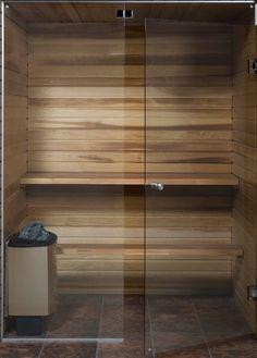 All Glass Sauna Door - Home Decorating Ideas Diy Sauna, Sauna Ideas, Home Spa Room, Spa Rooms, Sauna Steam Room, Sauna Room, Basement Sauna, Scandinavian Saunas, Sauna Design