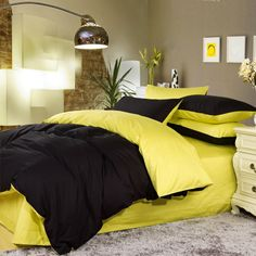 Black and Yellow Colored Full, Queen Size Bedding Sets