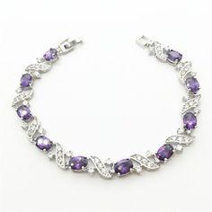 18K White Gold Link Chain Bracelets & Bangles Purple Sapphire Tanzanite Jewelry