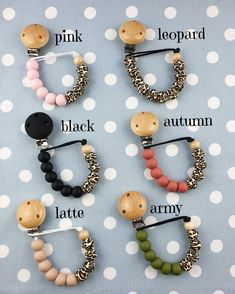 Personalised dummy clips wood/silicone/crochet beads dummy clips and teething rings Pacifier Clip Tutorial, Pacifier Clips, Pacifier Holder, Diy Arts And Crafts, Bead Crafts, Gift From Heaven, Dummy Clips, Chunky Beads, Teething Toys