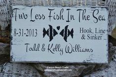 Wedding Sign - Beach Wedding Rustic Wedding Decor - Nautical Wedding - Personalized Names Custom Gift - Two Less Fish - Painted Wood Signage on Etsy, $32.00