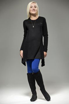 Stylish Plain Black Cardigan-style Maternity Top