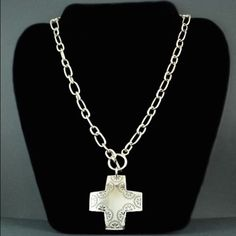 ✝Silpada Cross Necklace✝ This Silpada cross necklace is 17in long with a toggle clasp in front. All Silpada jewelry is .925 Sterling Silver. I believe this necklace was featured in the 2012 catalog Silpada Jewelry Necklaces