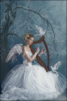 "White Harp Angel. Repinned by An Angel's Touch, LLC, d/b/a WCF Commercial Green Cleaning Co. ""Denver's Property Cleaning Specialists"" http://www.angelsgreencleaning.net"