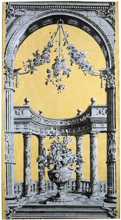 Portion of a classical 'pillar and arch' wallpaper (detail) panel from the Old Manor House, Bourton-on-the-Water, Gloucestershire, about 1769. Museum no. E.964-1913