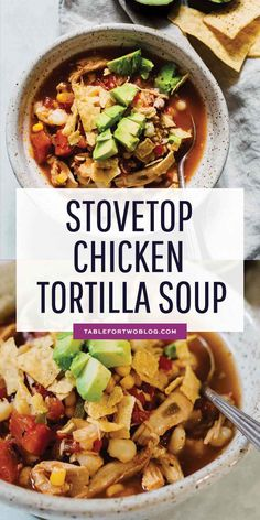 This chicken tortilla soup made on the stovetop is deliciously flavorful and spicy! You'll love how quickly it comes together and all the textures throughout the soup! The broth is SO good you'll be going back for more bowls! Healthy Chicken Tortilla Soup, Chicken Flavors, Healthy Soup, Healthy Recipes, Chicken Soups, Recipe For Tortilla Soup, Mexican Tortilla Soup, Fun Recipes, Recipe Chicken