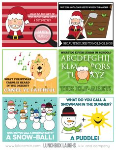 Christmas Lunch Notes {Printable} Featured on Design Dazzle Christmas Jokes, Christmas Lunch, Christmas Activities, Christmas Holidays, Christmas Crafts, Christmas Stuff, Christmas Ideas, Xmas Jokes, Thanksgiving Jokes