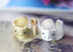 1piece Pig Ring Simple Animal Wide Open Band Ring Jewelry Wrap Ring Size 7.5 US #New #Band