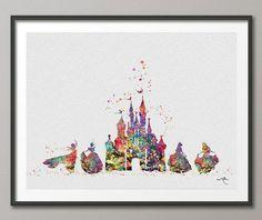 Cinderella Disney Princess Castle 2 Disney Castle Watercolor Print Archival Fine Art Print Princess Room [NO 248]
