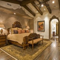Carved stone bed inset & archway...