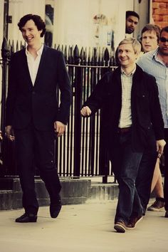 Benedict Cumberbatch and Martin Freeman on the set of Sherlock