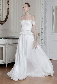 "THE NEW CLASSIC:  ""Thallo"" off-the-shoulder silk chiffon A-line wedding dress with a ruffled bodice, Sophia Kokosalaki"