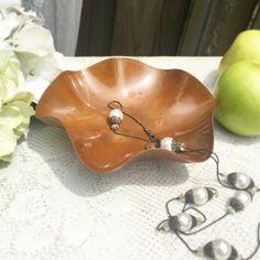 Vintage Copper Bowl scalloped edge footed Coppercraft guild modern decorative centerpiece potpourri vanity boudoir soap candy by WonderCabinetArts