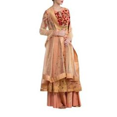 Old Rose Net Suit by ANJU MODI. Original price is Rs.48,800 and our 50% DISCOUNTED price is Rs.24,400 + 12.5% Tax.