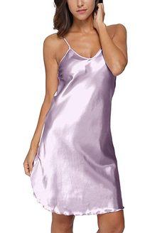 4f8288af567  Original Kimono Women s Satin Spaghetti Strap Nightdress Nightgown Babydoll