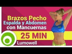 Ejercicios para Brazos, Pecho, Espalda y Abdomen con Mancuernas en Casa - YouTube #pilatesparabrazos