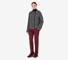"""Rocabar jacket Hermes overcoat jacket in double faced cashmere with Rocabar stripe, blue-black lambskin leather finishing and """"Clou de Selle"""" engraved palladium buttons (100% cashmere)"""