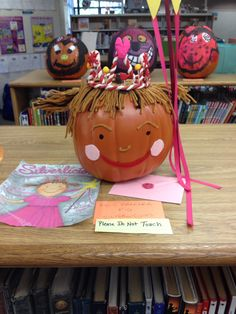 Book character pumpkin decorating contest. Naramake Elementary School Library.