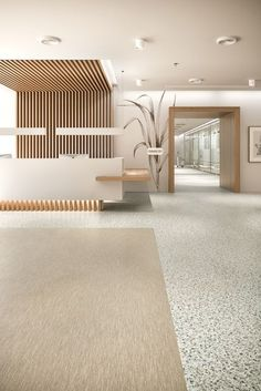 A new collection that represents a true change in direction for sustainable resilient flooring. Clinic Interior Design, Clinic Design, Healthcare Design, Hotel Room Design, Lobby Design, Design Design, Dental Office Design, Design Offices, Modern Offices