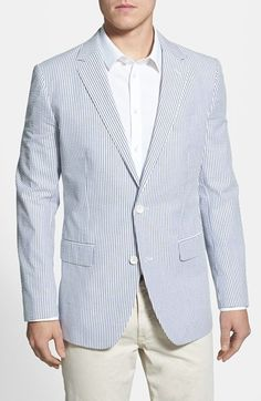 White and Blue Vertical Striped Blazer by Bonobos. Buy for $295 from Nordstrom