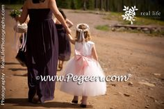 plum colored bridesmaids and flower girl dress by Pegeen.com