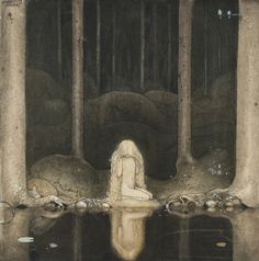(John Bauer), 1882-1918. (Princess Tuvstarr gazing down into the dark waters of the forest tarn)