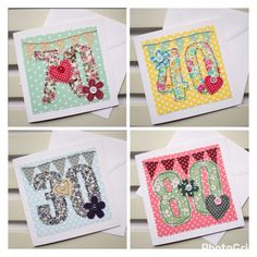 NEW - Colourful machine embroidered age cards for that special birthday from Paper Soup Handmade Cards.